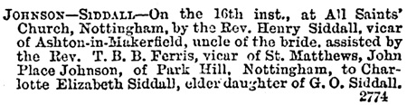 Derbyshire Times and Chesterfield Herald (Chesterfield, England), October 20, 1888, page 5, column 3.