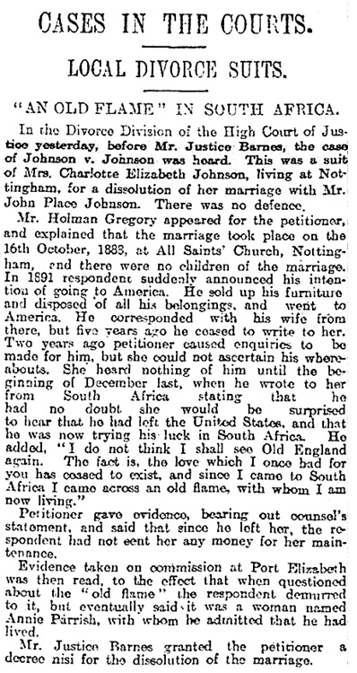 """""""Cases in the Courts"""" Sheffield Daily Telegraph, December 20, 1901, page 7, column 4."""