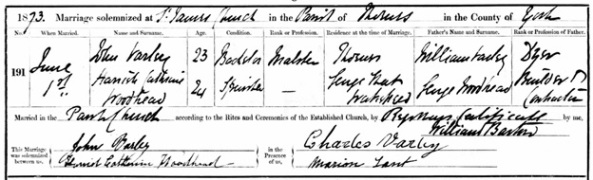Ancestry.com. West Yorkshire, England, Church of England Marriages and Banns, 1813-1935 [database on-line]. Lehi, UT, USA: Ancestry.com Operations, Inc., 2011. Name: John Varley; Marriage Age: 23; Event Type: Marriage; Birth Year: abt 1850; Marriage Date: 1 Jun 1873; Marriage Place: Thornes, St James with Christ Church, Yorkshire, England; Parish as it Appears: Thornes, St James with Christ Church; Father: William Varley; Spouse: Harrish Cathrine Woodhead.