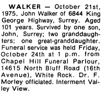Surrey Leader, October 30, 1975, page 10, column 2.