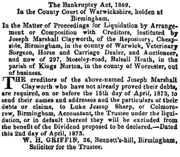 The London Gazette, April 4, 1873, page 1859, https://www.thegazette.co.uk/London/issue/23964/page/1859/data.pdf.