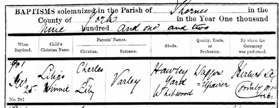 Ancestry.com. West Yorkshire, England, Church of England Births and Baptisms, 1813-1910 [database on-line]. Lehi, UT, USA: Ancestry.com Operations, Inc., 2011. Name: Lilias Winnie Varley; Record Type: Baptism; Baptism Date: 25 Dec 1901; Baptism Place: Thornes, St James with Christ Church, Yorkshire, England; Parish as it Appears: Thornes, St James with Christ Church; Father: Charles Varley; Mother: Lily Varley.
