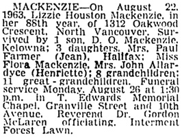 Vancouver Sun, August 24, 1963, page 27, column 3.