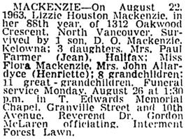 Vancouver Sun, August 24, 1963, page 27, column 3.