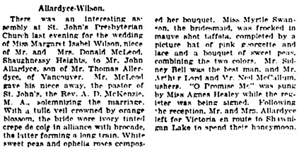 Vancouver Daily World, July 13, 1923, page 7, column 5.