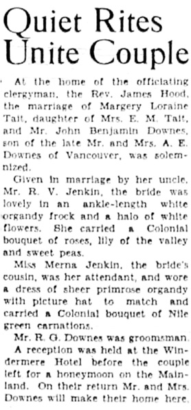 Victoria Daily Colonist, June 23, 1950, page 8, column 3.