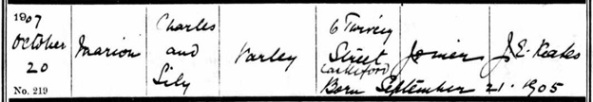 Ancestry.com. West Yorkshire, England, Church of England Births and Baptisms, 1813-1910 [database on-line]. Lehi, UT, USA: Ancestry.com Operations, Inc., 2011. Name: Marion Varley; Age: 2; Record Type: Baptism; Birth Date: 21 Sep 1905; Baptism Date: 20 Oct 1907; Baptism Place: Whitwood Mere, All Saints, West Yorkshire, England; Parish as it Appears: Whitwood Mere, All Saints; Father: Charles Varley; Mother: Lily Varley.