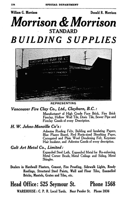 Henderson's City of Vancouver and North Vancouver Directory, 1909, page 154.