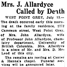 Vancouver Sun, July 13, 1927, page 2, column 8.