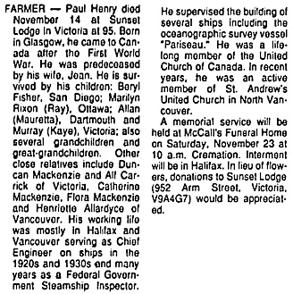 Victoria Times Colonist, November 19, 1991, page 25, column 4.