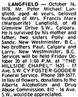 Calgary Herald, October 19, 1978, page 67, column 4.