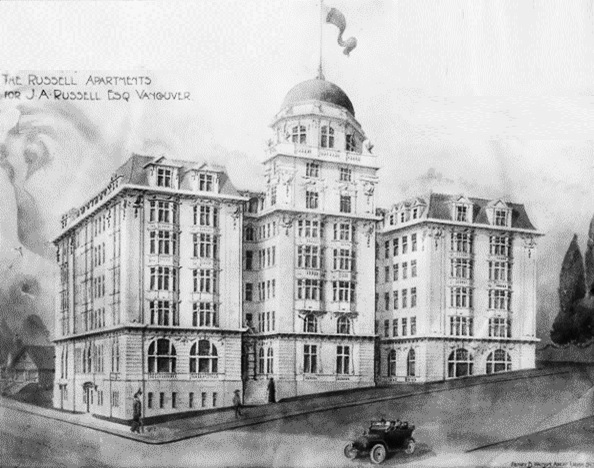 Drawing of the Russell apartments; by Henry B. Watson, architect; [about 1912], Vancouver City Archives, M-11-73; https://searcharchives.vancouver.ca/drawing-of-russell-apartents-by-henry-b-watson-architect.
