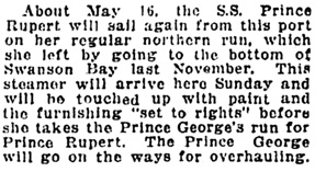 Vancouver Sun, May 6, 1921, page 12, column 3.
