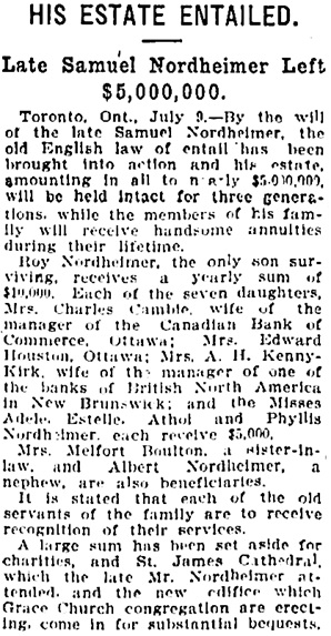 The Gazette (Montreal), July 10, 1912, page 5, columns 3-4.