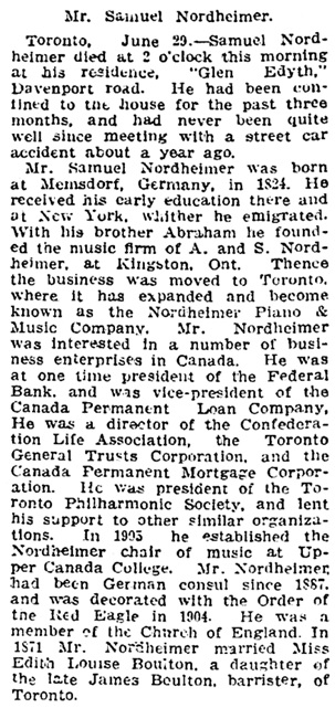 The Gazette (Montreal), July 1, 1912, page 7, column 2.