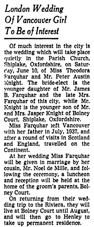 Vancouver Province, June 3, 1939, page 11, column 3.