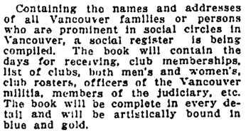 Vancouver Daily World, November 5, 1913, page 9, column 4.
