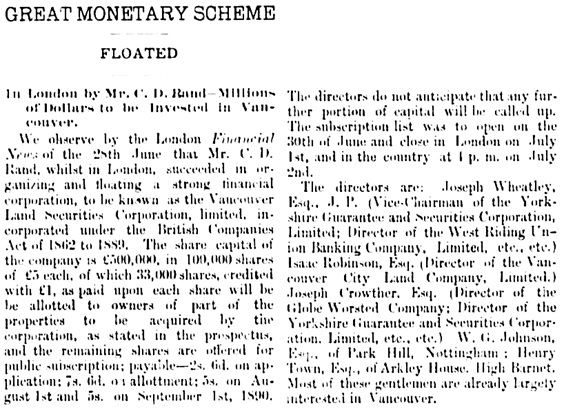 Vancouver Daily World, July 16, 1890, page 4, column 2 (first portion of article).