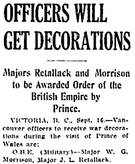 Vancouver Daily World, September 16, 1919, page 13, column 2.