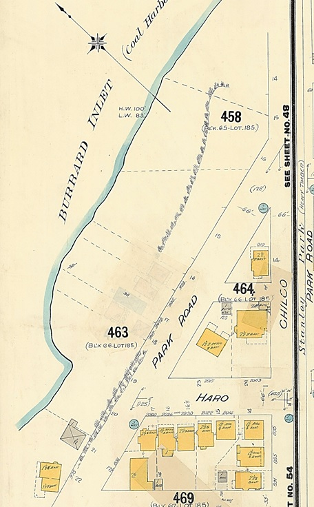 West side of Park Road, detail from Goad's Atlas of Vancouver, volume 1, plate 62, Chilco Street to Burrard Inlet to Stanley Park boundary to Pendrell Street; Vancouver City Archives; 1972-582.37; https://searcharchives.vancouver.ca/plate-62-chilco-street-to-burrard-inlet-to-stanley-park-boundary-to-pendrell-street.