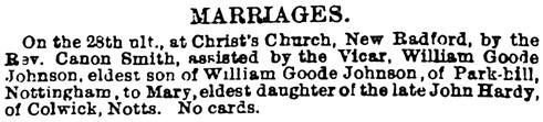 The Nottinghamshire Guardian, (Nottingham, England), March 8, 1878, page 8, column 2.