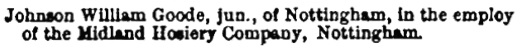Bankrupts, Receiving Orders, Stamford Mercury (Stamford, England), Friday, March 21, 1884, volume 190, Issue 9857, page 5.