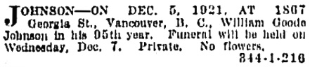 Vancouver Province, December 6, 1921, page 13, column 1.