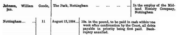 """""""Orders on Applications to Approve Composition or Scheme,"""" The London Gazette, August 19, 1884, page 3782; https://www.thegazette.co.uk/London/issue/25388/page/3782."""