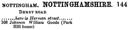 Post Office Directory of Derbyshire and Nottinghamshire, 1881, page 144 [selected portions]; https://books.google.ca/books?id=5kUTAQAAIAAJ&pg=PA144#v=onepage&q&f=false.