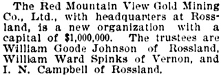 Vancouver Daily World, June 26, 1896, page 7, column 2.