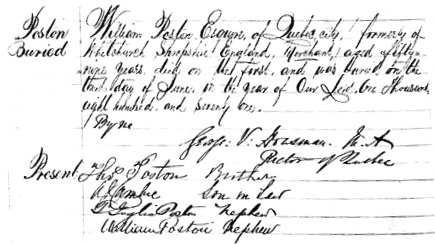 Ancestry.com. Quebec, Canada, Vital and Church Records (Drouin Collection), 1621-1968 [database on-line]. Provo, UT, USA: Ancestry.com Operations, Inc., 2008. Name: William Poston; Death Age: 59; Religion: Anglican; Event Type: Enterrement (Burial); Birth Date: abt 1812; Death Date: 1871; Burial Date: 1871; Burial Place: Quebec (Quebec City), Québec (Quebec); Place of Worship or Institution: Anglican Cathedral Holy Trinity Church.