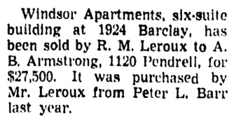 Vancouver Province, February 15, 1945, page 23, column 2.