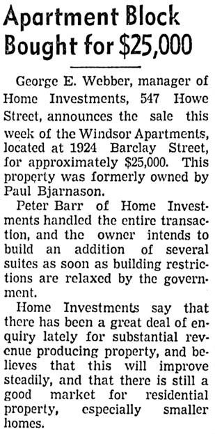 Vancouver Sun, June 27, 1942, page 27, column 6.