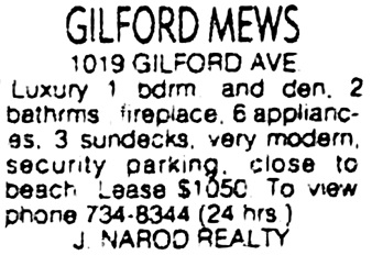 "Vancouver Sun, February 3, 1984, page E2, column 10. [Note: address listed as ""Gilford Ave,"" not ""Gilford Street.""]"