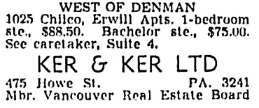 Vancouver Sun, February 12, 1955, page 41, column 7 [selected portions of advertisement].