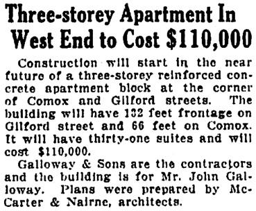 Vancouver Province, June 3, 1926, page 14, column 5.
