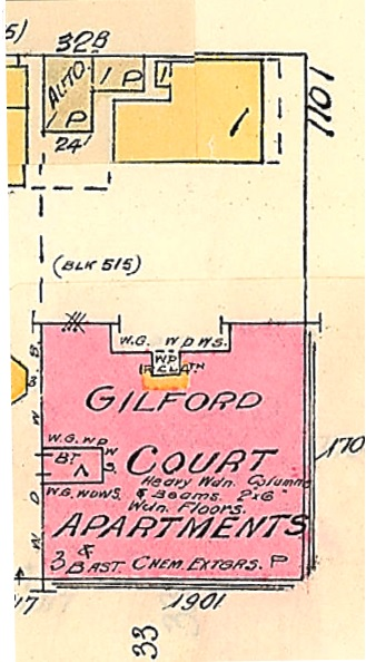 1101 Gilford Street and 1901 Pendrell Street, 1913; Goad's Atlas of Vancouver Vol. 1; Plate 63; detail from Denman Street to Comox Street to Stanley Park boundary to English Bay; Item : 1972-582.38; https://searcharchives.vancouver.ca/plate-63-denman-street-to-comox-street-to-stanley-park-boundary-to-english-bay.