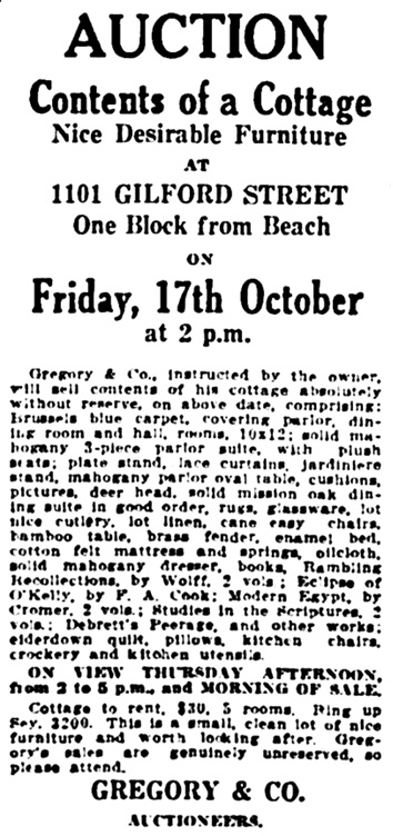 Vancouver Daily World, October 15, 1913, page 2, column 6.