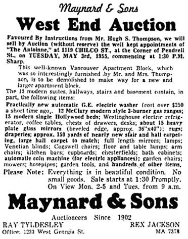 Vancouver Province, April 30, 1955, page 43, columns 2-3.