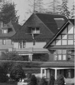 1119 Chilco Street; detail from Panoramic view of English Bay beach, Sylvia Court Apartments, July 19, 1919; Vancouver City Archives, PAN N77; https://searcharchives.vancouver.ca/panoramic-view-of-english-bay-beach-sylvia-court-apartments-decorated-in-great-peace-celebration-and-bathhouses-from-english-bay-pier.