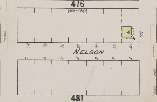 1800 Block Nelson Street; Detail from Insurance plan – City of Vancouver, July 1897, revised June 1901 – Sheet 43 – Coal Harbour to Comox Street and Bidwell Street to Stanley Park.
