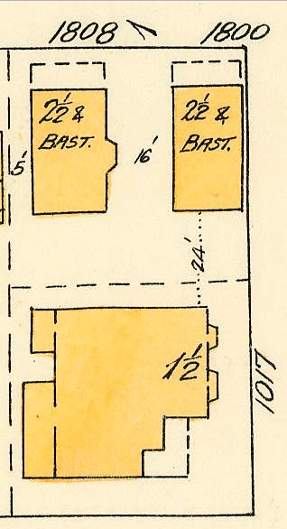 1808 Nelson Street, 1800 Nelson Street and 1017 Denman Street; 1913, detail from Denman Street to Haro Street to Chilco Street to Comox Street; 1972-582.29 – Plate 54; Reference code: AM1594-MAP 383-: 1972-582.29; https://searcharchives.vancouver.ca/plate-54-denman-street-to-haro-street-to-chilco-street-to-comox-street.