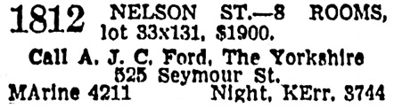 Vancouver Province, February 17, 1941, page 21, column 1 [selected portions of advertisement].