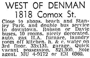 Vancouver Sun, December 6, 1958, page 46, column 3.
