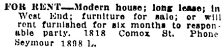 Vancouver Daily World, August 26, 1911, page 32, column 7.
