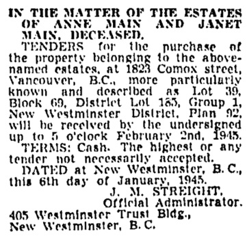 Vancouver Province, January 10, 1945, page 19, column 3.