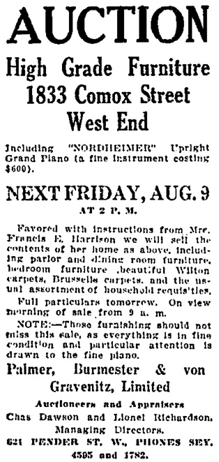 Vancouver Daily World, August 7, 1912, page 4, column 1.