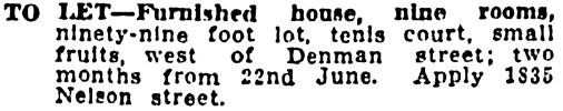 Vancouver Province, June 6, 1908, page 30, column 2.