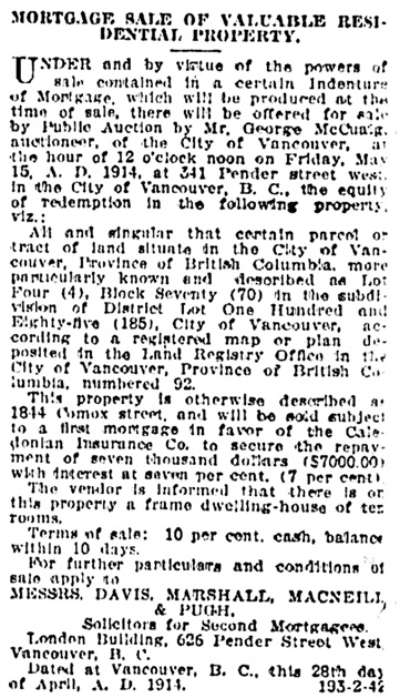 Vancouver Province, May 13, 1914, page 23, column 7.