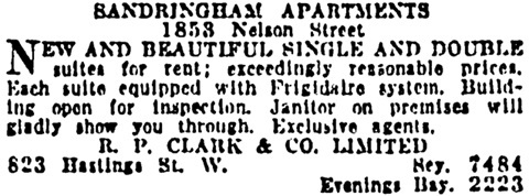 Vancouver Province, October 29, 1926, page 23, column 3.